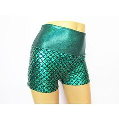 Green Mermaid Scale Pinup Shorts Shorty Shorts Sexy Shimmer ($25) ❤ liked on Polyvore featuring grey and women's clothing