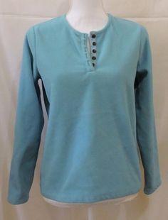 Lands End Women Blue Fleece Sweater Size SP 6-8 #LandsEnd #12Button
