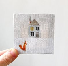 love this sweet little painting. would be so cute to have a grouping of 9 on a wall :: good neighbor / original painting on canvas by ohchalet on Etsy