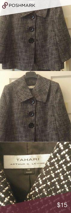 Tahari jacket Black and white hounds tooth jacket with snap fastens. Tahari Jackets & Coats Blazers