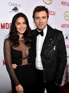 Pin for Later: Can't-Miss Celebrity Pics!  Olivia Munn and Ewan McGregor got close on the red carpet at the premiere of their movie Mortdecai in LA on Wednesday.