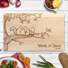 Custom Cutting Board Squirrel couple on Tree Branch Laser Engraved Chopping Block Gifts for couple Wedding Gifts Anniversary Gift Maple wood Olive Wood Cutting Board, Custom Cutting Boards, Engraved Cutting Board, Wedding Gifts For Couples, Wedding Anniversary Gifts, Wooden Bread Board, Burnt Offerings, Wood Burning Patterns, Presents For Him