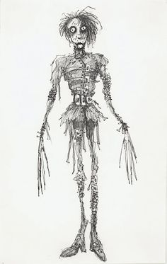 "Costume illustration for ""Edward Scissorhands"" (Johnny Depp) 'Edward Scissorhands' 1990. Design by Colleen Atwood."