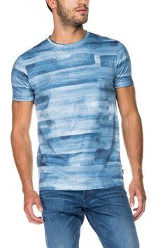 T-shirt 100% algodão com impressão digital e corte justo | 117711 Azul | Salsa