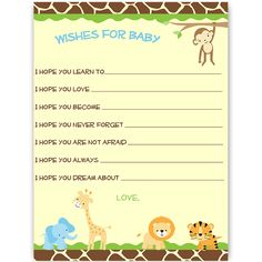 Have guests offer hopes for baby at your boy baby shower with this jungle safari themed wishes card featuring jungle animals including a Lion, Tiger, Elephant, Monkey and Giraffe.