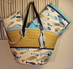 Ana`s Trapos: Conjunto Praia - alcofa, toalha, almofada