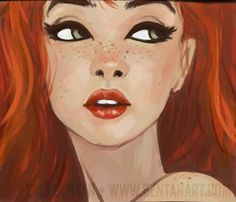 Red hair and green Eyes, i love this