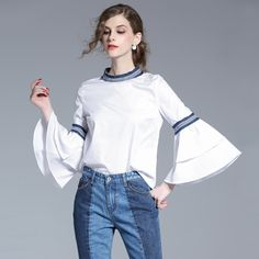Spring Blouse 2017 New Woman's Fashion Casual Full Shirts Appliques Patchwork Flare Sleeve Blouses O-Neck Light Color Shirt