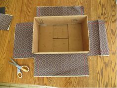 "covering a cardboard box w/ fabric...to create neat edges, 1st cut out the corner squares as shown 1"" longer on each side.  Then cut a small diagonal at the inside of each square almost to the box.  fold in each edge, before gluing (or mod lodge) to create a nice finished look.  if covering inside also, do inside 1st and allow fabric to overlap outside of each side"