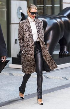 See how Rosie Huntington-Whiteley styles leather leggings with a leopard-print coat and Gucci belt bag.