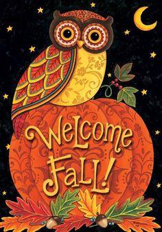 "Fall Welcome Owl  on  Pumpkin GARDEN Flag Autumn Halloween 12""x 18"" Moon #CustomDecor"