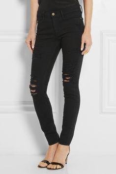 Frame Denim - Le Skinny de Jeanne - Distressed Mid-Rise Black Jeans - ($200.00) - Via Wanelo - Want, Need, Love! <3