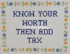 Wise Sassy - Know Your Worth / digital cross-stitch pattern / instant download / words of wisdom / quote