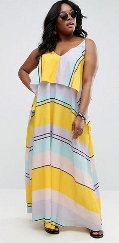 Plus Size Stripe Crop Top Maxi Dress