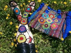 """Granny Mandala Gladiators"" Crochet Lace Shoes And Upcycled Technicolor Crochet Sun Mandala Tote Bag by babukatorium, via Flickr"