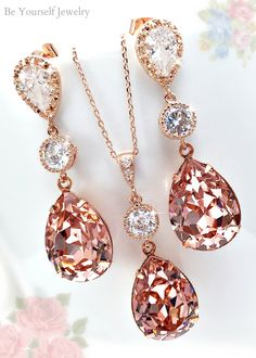 Gorgeous crystal drop earrings and necklace Wedding Day Jewelry, Bridal Jewelry Sets, Crown Jewels, Crystal Drop, Dusty Rose, Gems, Bling, Rose Gold, Drop Earrings