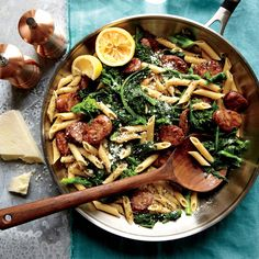 Chicken Sausage and Broccoli Rabe Penne - Superfast Pasta Recipes - Cooking Light