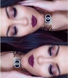 Beautiful burgundy/dark cherry eye and lip by make up _amor