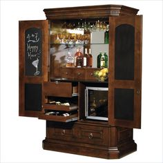 Hide-A-Bar liquor cabinet is meant to look like an armoire when the doors and… Armoire Bar, Cheap Cabinets, Wine Cabinets, Arden Homes, Home Wine Bar, Bar Cart Decor, Small Bars, Bar Lounge, Bar Furniture