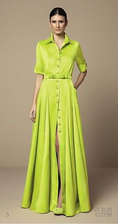Button down collared maxi dress Green Shirt Dress, Maxi Shirt Dress, Dress Skirt, Sewing Dress, Hijab Fashion, Fashion Dresses, Mode Kimono, Mode Glamour, Evening Dresses