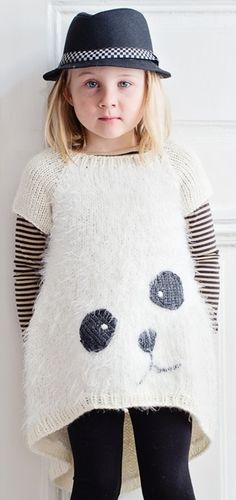 knitted panda sweater // knitting pattern in Finnish via Novita LTDv Knitting For Kids, Crochet For Kids, Knitting Projects, Baby Knitting, Knit Crochet, Fashion Kids, Pull Jacquard, Knitting Patterns, Crochet Patterns