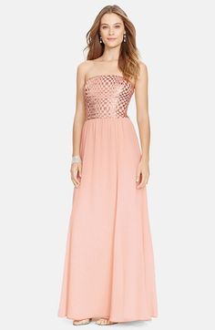 Lauren Ralph Lauren Metallic Bodice Strapless Chiffon Gown available at #Nordstrom-$179.90