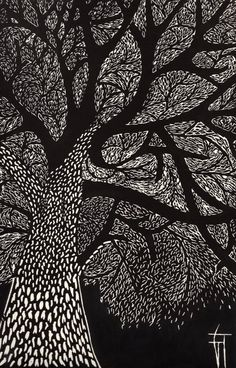 "Printmaking, ""L'arbre - Original Linocut / Tree / Nature / Forest / leaves - Limited Edition 10 of Linocut Prints, Art Prints, Black Paper Drawing, Scratchboard Art, Black And White Tree, Desenho Tattoo, Aboriginal Art, Tree Art, Printmaking"