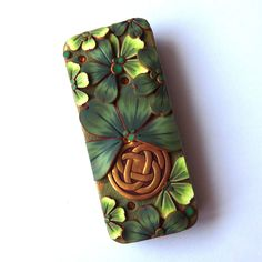 Lucky Clover Shamrock Slide Top Tin, Claybykim St Patrick's Day Sewing Needle Case, Polymer Clay Covered Magnetic Needle Case by Claybykim on Etsy