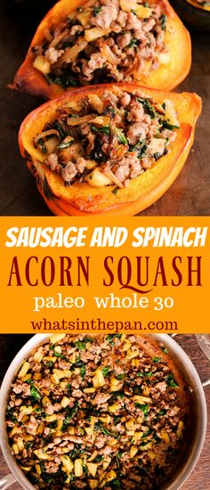 Sausage and Spinach Stuffed Acorn Squash is the best stuffed squash recipe! Sausage and Spinach Stuffed Acorn Squash is the best stuffed squash recipe! Paleo Whole 30, Whole 30 Recipes, Pork Recipes, Real Food Recipes, Cooking Recipes, Healthy Recipes, Acorn Squash Recipes Healthy, Paleo Sausage Recipes, Clean Eating Snacks