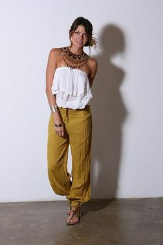 Cha Cha tube top, comfy summer pants & beaded statement piece. My perfect summer outfit. Jen's Pirate Booty.