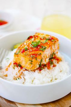 Sweet Chili Salmon - A quick and easy salmon dish with Thai sweet chili sauce.