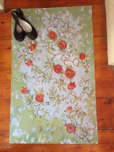 Original hand painted floorcloth 24x44 just listed on etsy. c 2016 Olivia Atherton