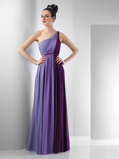 Chiffon one shoulder, shirred gown, empire waist, Available in Three-tone,Two-Tone or SolidThis style can be ordered in one solid color, Two-tone, or Three-tone.