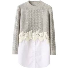Blackfive Flower Appliques Seamed Hem Pullover Sweater featuring polyvore, fashion, clothing, tops, sweaters, blackfive, dresses, jumpers, white jumper, white button sweater, long knit sweater, white tops and long sweaters