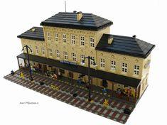 Lego Train Station, Lego City Train, Lego Trains, Gare Lego, Minecraft, Lego Village, Big Lego, Lego Modular, Lego Architecture