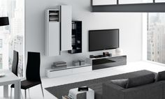 Comedor Trazos de Kibuc. Propuesta de elegantes líneas estilizadas y exclusivo diseño adaptable a tus preferencias. Acabado Lacado blanco, negro y cristal negro decorado. Medida L318 cm