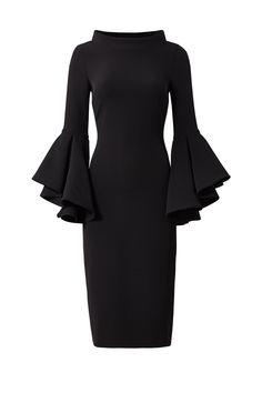 Black Bell Sleeve Sheath by Badgley Mischka - pair with statement necklace and small earrings, classic black stiletto Classy Outfits, Beautiful Outfits, Rent Dresses, Hijab Style, Luxury Dress, Elegant Outfit, Muslim Fashion, Simple Dresses, Knit Dress