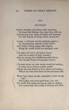 "Poem: ""Stanzas"" - by Emily Brontë. Beautiful Poetry, Beautiful Words, Pretty Words, Love Words, Poem Quotes, Words Quotes, Book Passage, Literature Quotes, Quotations"