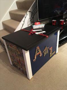 Handmade toy box including chalkboard top from www.madebygav.co.uk