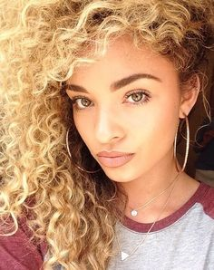 Golden curly hair