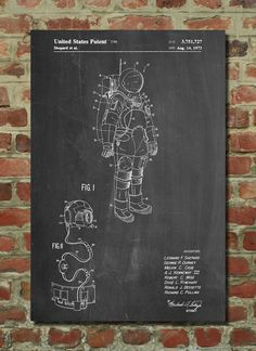 Apollo Space Suit Patent Poster, Outer Space, NASA Print, Space Wall Art PP309