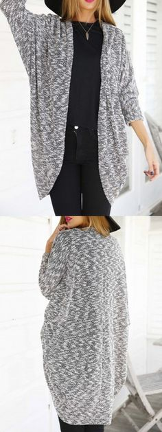 Gray Batwing Long Sleeve Open Front Cardigan