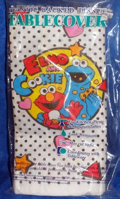 Sesame Street Elmo & Cookie Monster Plastic Backed Tissue Tablecover NIP  E8 #BeachProducts