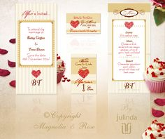 From the 'Red Delicious' couture collection. Wedding Invitations, RSVP, Map/Directions, Menus, Table and Favour/Decor Swing Tags.  | © Julinda at Magnolia & Rose Weddings. ulinda at Magnolia & Rose Weddings. For best representation of the high print quality please click on the photo to view the website.