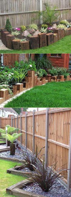 Create Awesome Garden Edging to Improve Your Curb Appeal - Diy Garden Decor İdeas Lawn Edging, Garden Edging, Garden Borders, Wood Edging, Garden Yard Ideas, Diy Garden, Lawn And Garden, Garden Tips, Backyard Ideas