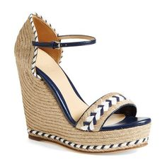 Women's Gucci 'Tiffany' Wedge Sandal ($605) found on Polyvore featuring shoes, sandals, heels, wedges, strap wedge sandals, woven wedge sandals, strappy heel sandals, wedge heel shoes and braided sandals