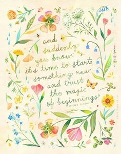 Magic of Beginnings art print Botanical watercolor painting image 0 Watercolor Quote, Floral Wreath Watercolor, Watercolor Painting, Watercolor Lettering, Bernadette Soubirou, Words Quotes, Me Quotes, Daisy Quotes, Wild Flower Quotes