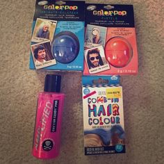 Temporary hair colors This lot includes--Manic Panic cotton candy pink hair dye, blue comb-in color, orange and blue hair chalk by Color Pop. Free samples with purchase. Makeup