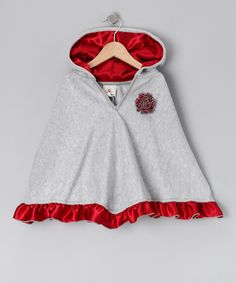 Take a look at this Gray & Red Satin Ruffle Poncho - Infant, Toddler & Girls on zulily today!
