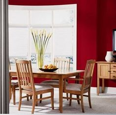 Dining Room Paint Colors Red Wall Colors With Large Windows And Wooden Furniture : Top Dining Room Paint Colors - Strandedwind Home Inspiration Dining Room Paint Colors, Kitchen Paint Colors, Dining Room Design, Wall Colors, Dining Rooms, Red Kitchen Walls, Kitchen Cupboards, Kitchen Decor, Room Paint Designs